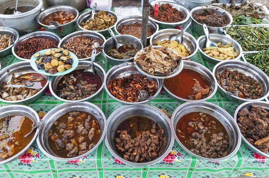 burmese curry buffet at yangon myanmar market